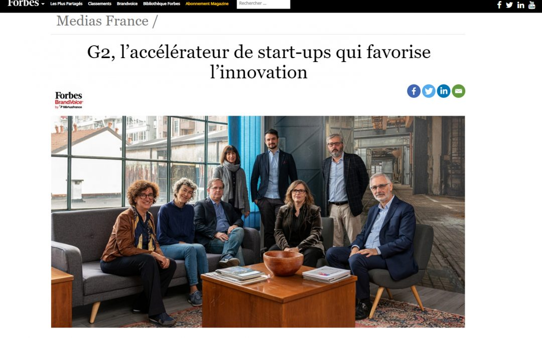 G2 Startups selezionata da Forbes France come Acceleratore che favorisce l'Innovazione